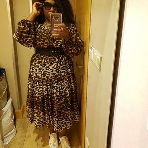 Animal print longsleeve dress